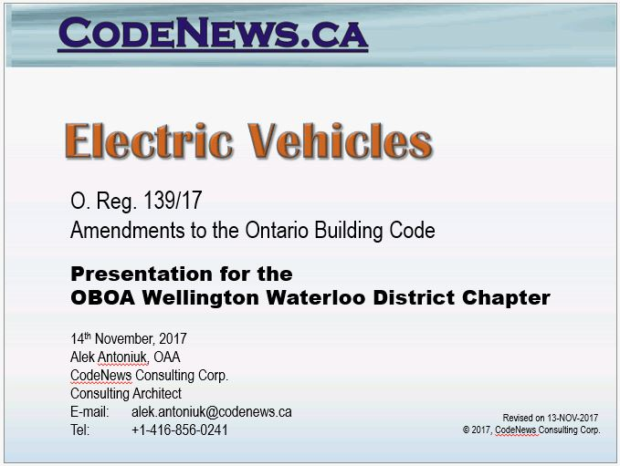 Electric Vehicle Charging Stations - Ontario Building Code 2017 -  Slide 1