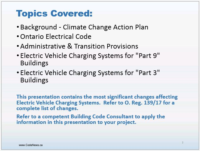 Electric Vehicle Charging Stations - Ontario Building Code 2017 -  Slide 2
